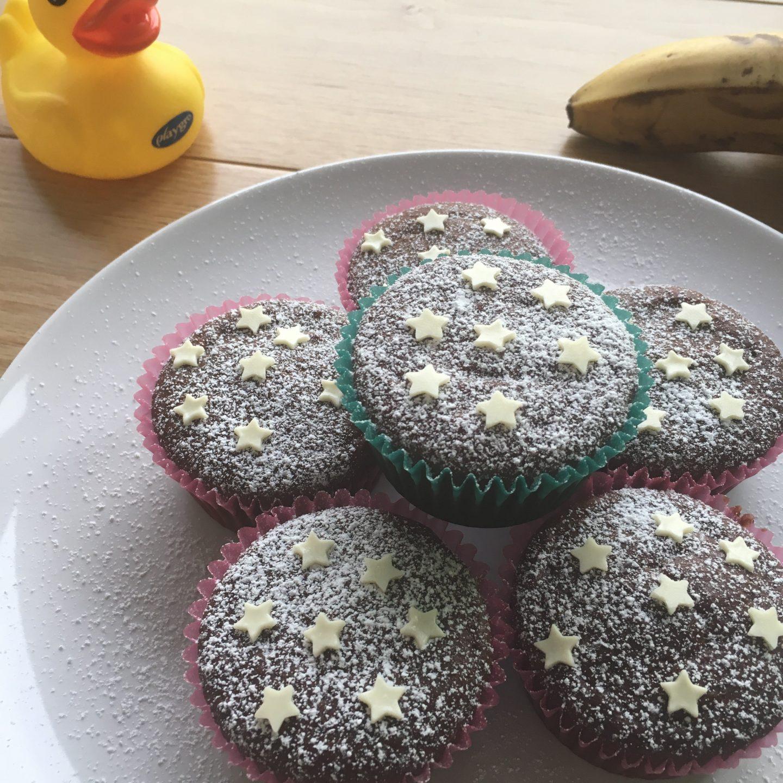 Gluten free and vegan banana chocolate muffin
