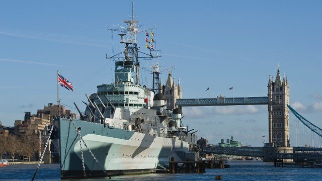 The HMS Belfast on the Thames in London